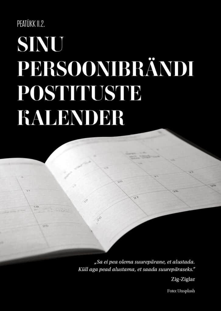 sinu persoonibrändi postituste kalender